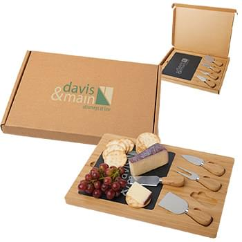 Slate Cheese Board Gift Box Set
