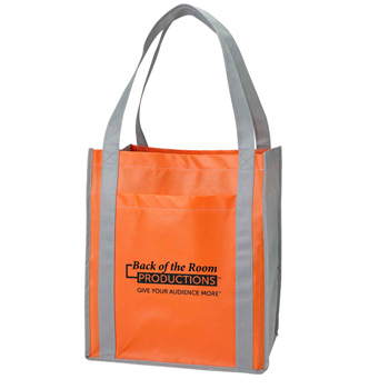 Color Combination Large Non-Woven Grocery Tote w/ Pocket
